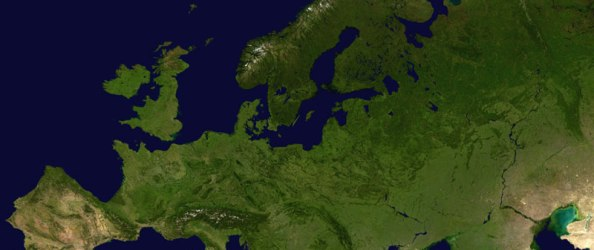 A satelite map of Europe