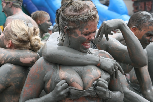 Girl mud wrestling, Boryeong, Korea