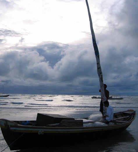Fishing boat near the ocean  Jericoacoara, Brazil