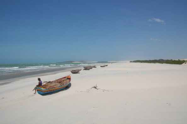 Boats on the beach in Jericoacoara, Brazil