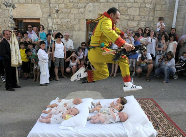 Baby jumping at El Colacho festival, Spain