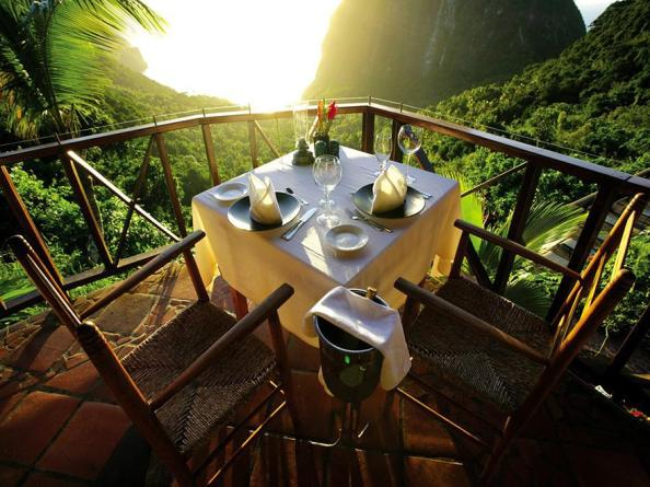 Table laid for breakfast at The Ladera Resort, St. Lucia