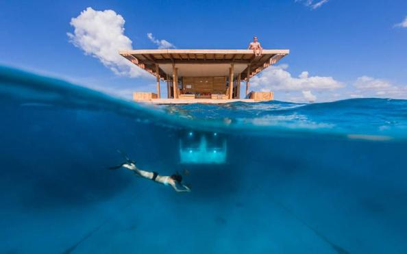 Cabin on the water at the Manta Resort