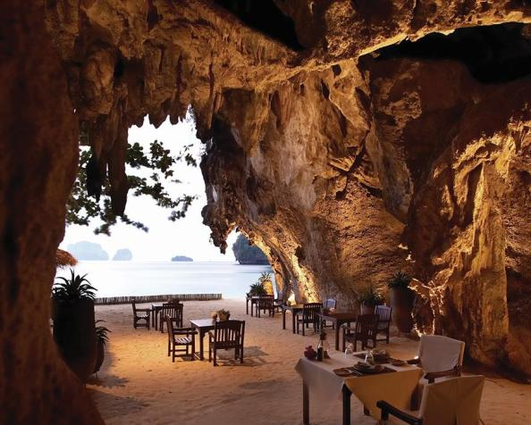 Restaurant in a cave at Rayavadee Krabi, Thailand