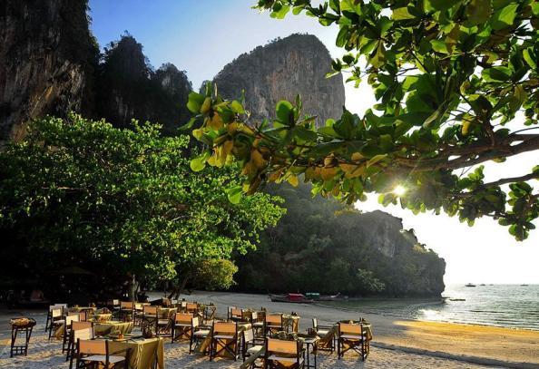 Tables set up on the beach Rayavadee Krabi, Thailand