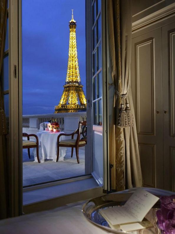 View of the Eiffel Tower from the Shangri La, Paris