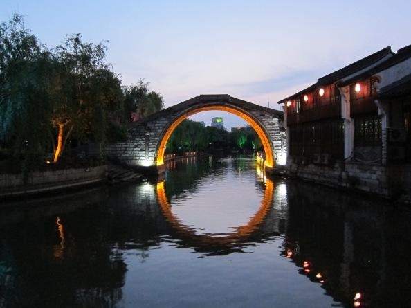 An illuminated bridge in China