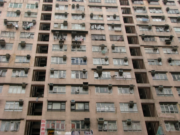 Shabby apartment building in Hong Kong