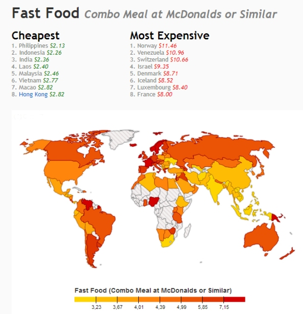 A map showing the average cost of a meal in McDonald's in different countries around the world