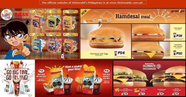 Menu in McDonald's in Philippines